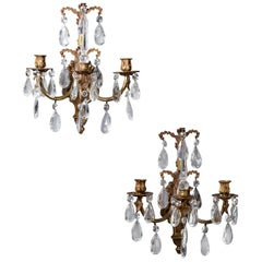 Pair of Vintage French Three-Arm Brass Crystal Sconces circa 1940 Poignards
