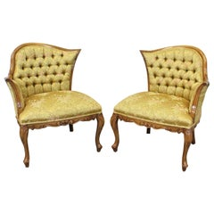 Pair of Vintage French Tufted Fireside Ladies Parlor Chairs