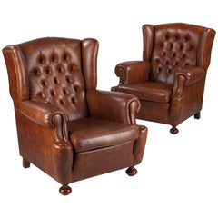 Pair of Vintage French Tufted Wing Armchairs, 1960s