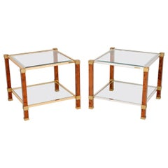 Pair of Vintage French Walnut and Glass Side Tables