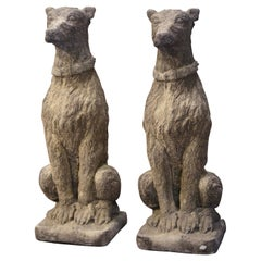 Pair of Vintage French Weathered Carved Stone Statuary Scottish Deer Hounds