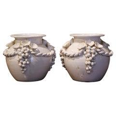 Pair of Vintage French White Barbotine Ceramic Vases with Grape Decor