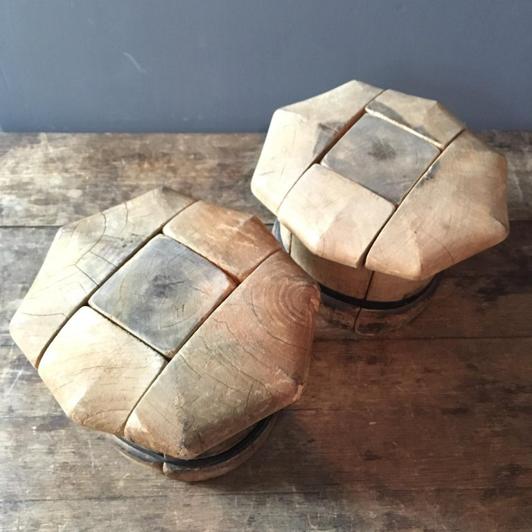 b95a0690 Pair of Vintage French Wooden Puzzle Hat Blocks In Good Condition For Sale  In Hastings,