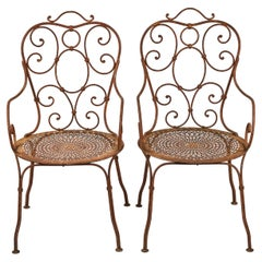 Pair of Vintage French Wrought Iron Garden Chairs