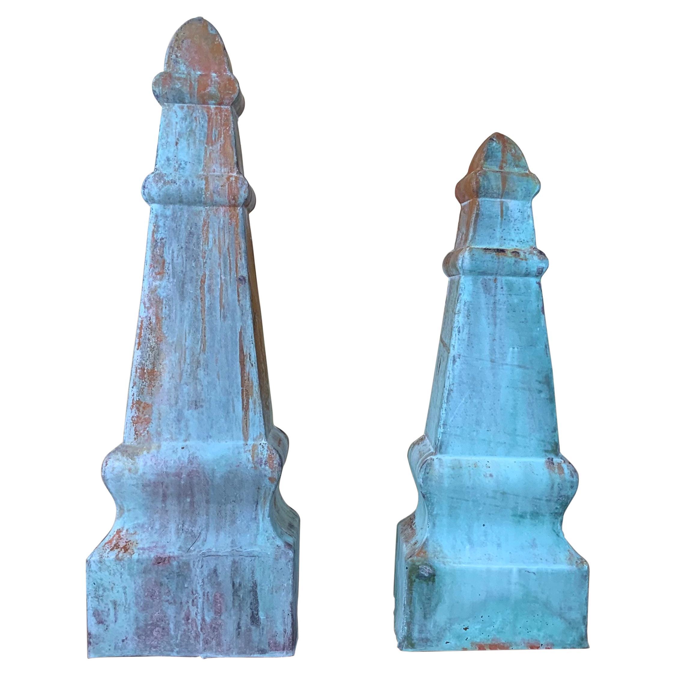 Pair of Vintage Garden Obelisks