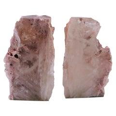 Pair of Vintage Geode Bookends in Rare Rose Quartz