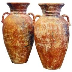 Pair of Vintage Giant Mediterranean Terracotta Olive Jars with Handles