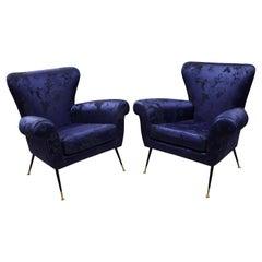 Pair of Vintage Gigi Radice Italian Armchairs in Ultramarine Upholstery