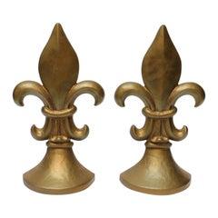 Pair of Vintage Gilded Cast Iron Fleur De Lys Sculptures