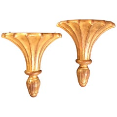 Pair of Vintage Gilded Wood Italian Wall Brackets