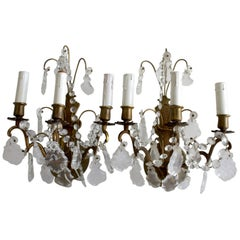 Pair of Vintage Gilt Bronze French Sconces with French Cut Prisms