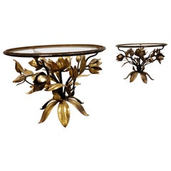 Pair of Vintage Gilt Metal Flower Side Tables, 1960s