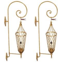 Pair of Vintage Gilt Metal Italian Lanterns