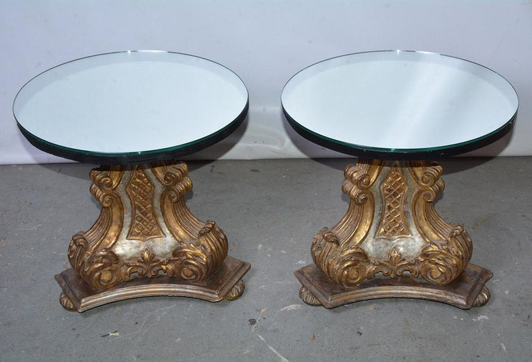 Baroque Pair of Vintage Gilt Pedestal Table Bases For Sale