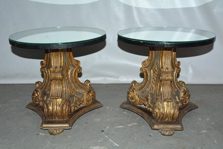 Italian Pair of Vintage Gilt Pedestal Table Bases For Sale