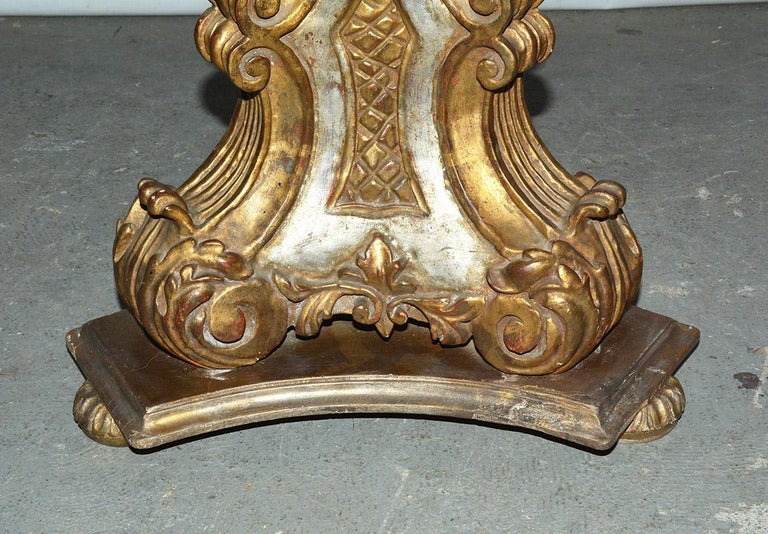 20th Century Pair of Vintage Gilt Pedestal Table Bases For Sale
