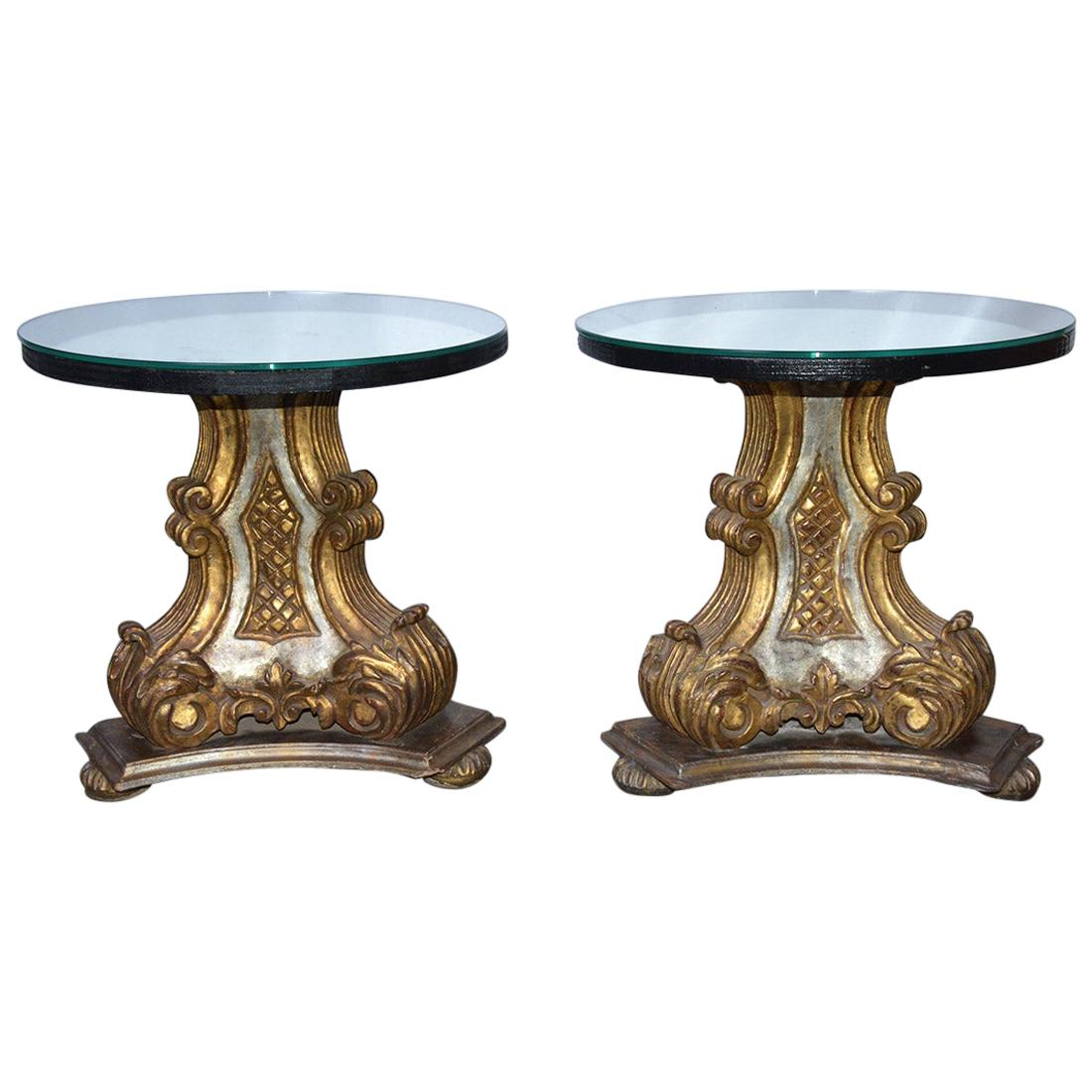 Pair of Vintage Gilt Pedestal Table Bases With Mirrored Top