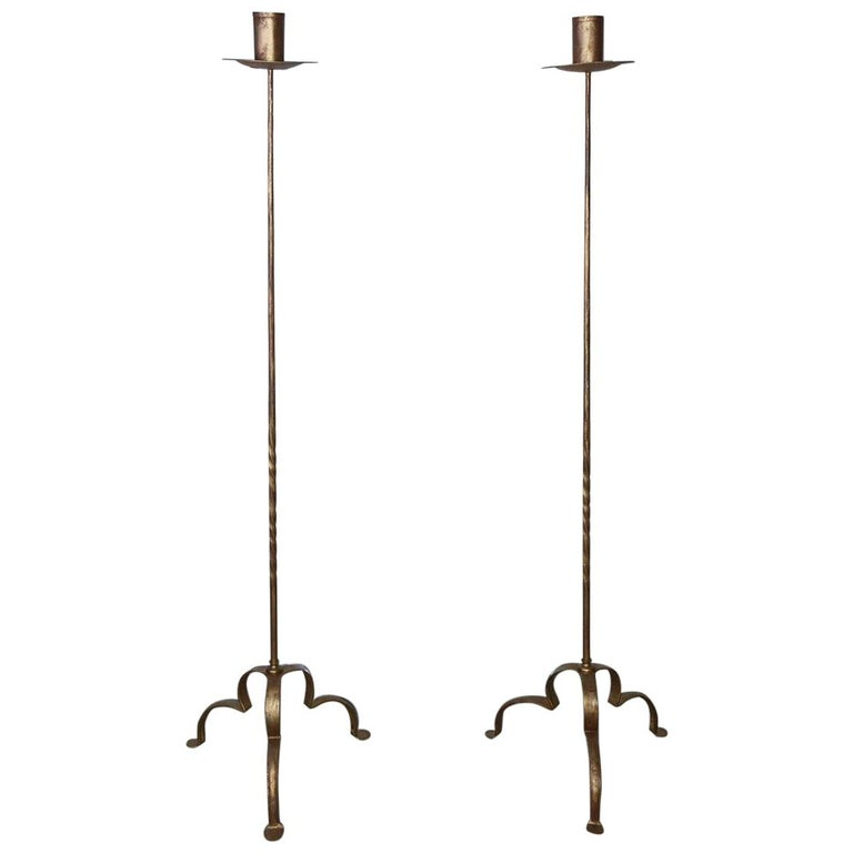 Pair of Vintage Gilt Wrought Iron Torcheres For Sale