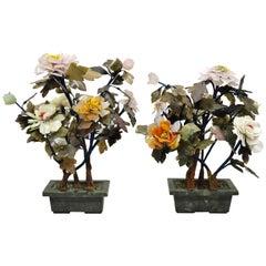 Pair of Vintage Glass and Soapstone Flower Bonsai Tree Centerpiece Sculpture