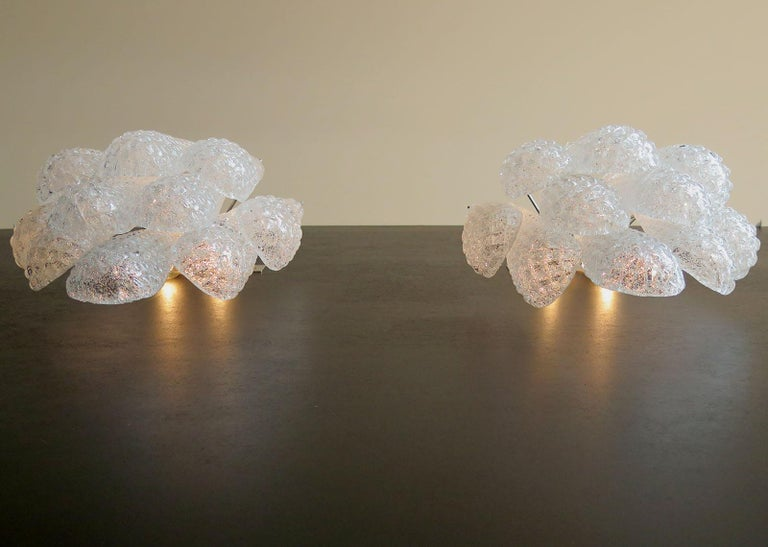 Mid-Century Modern Pair of Vintage Glass Petals Drop Wall Sconce by Mazzega