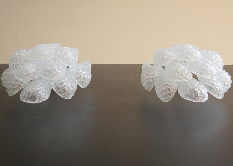Blown Glass Pair of Vintage Glass Petals Drop Wall Sconce by Mazzega