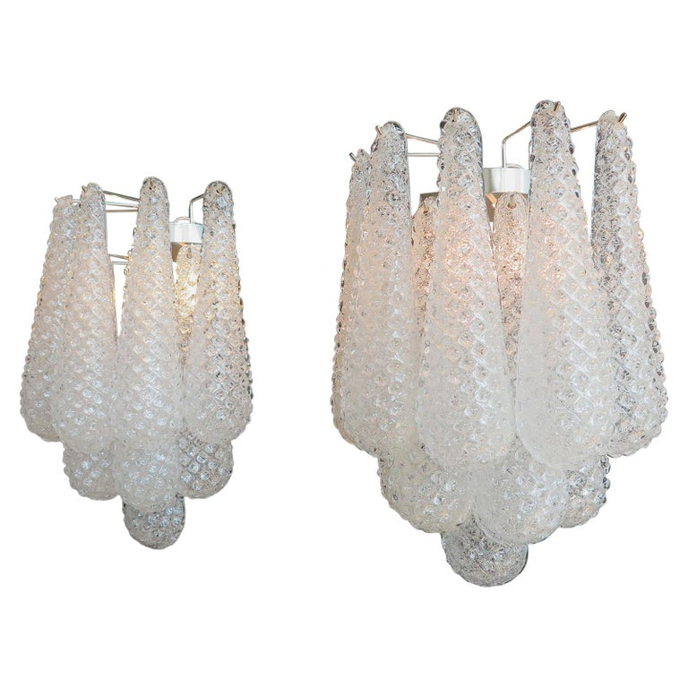 Pair of Vintage Glass Petals Drop Wall Sconce by Mazzega