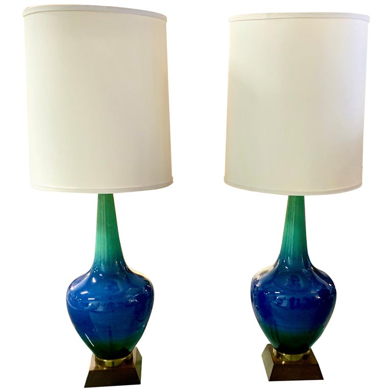 Pair of Vintage Glazed Ceramic Lamps For Sale