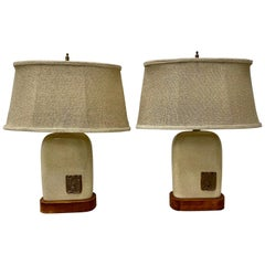 Pair of Vintage Glazed Ceramic Lamps with Mayan Inspired Ceramic Medallions