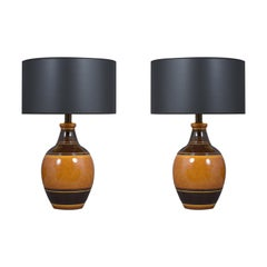 Pair of Vintage Glazed Ceramic Table Lamps