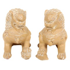 Pair of Vintage Glazed Terracotta Foo Dogs