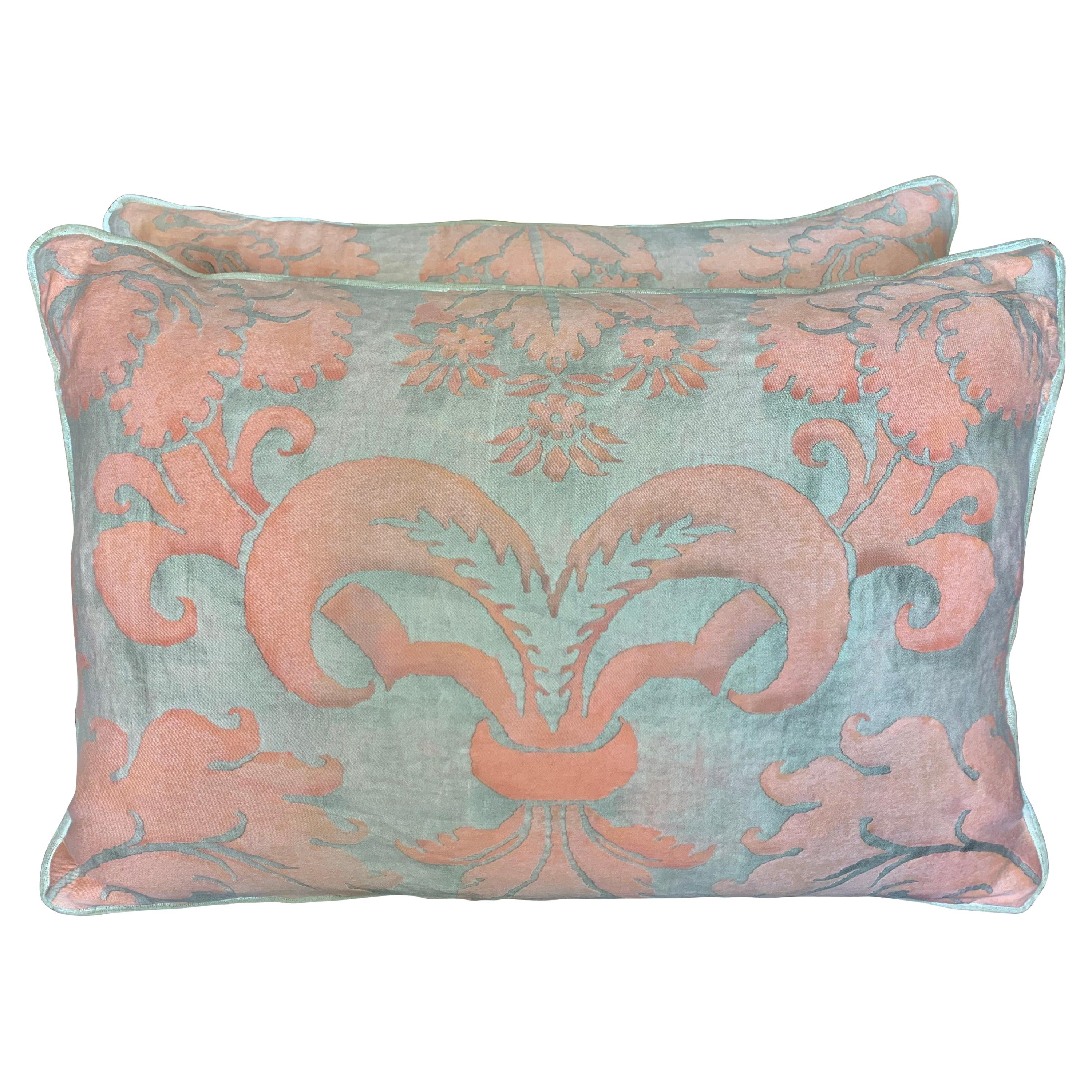 Pair of Vintage Glicine Patterned Fortuny Textile Pillows