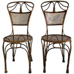 Pair of Vintage Gold Gilt Metal Rope and Tassel Hollywood Regency Chairs, 1950s