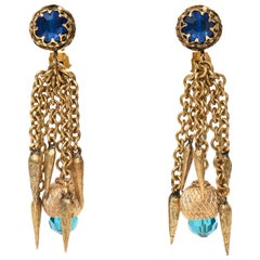 Pair of Vintage Gold Plated & Crystal Chain Dangle Clip On Earrings