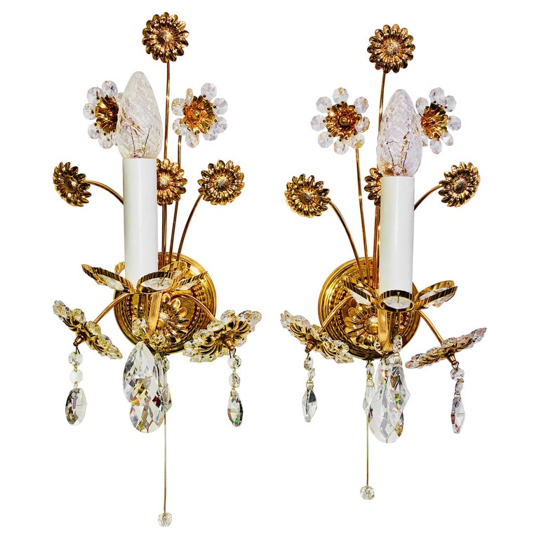 """Pair of Vintage Gold-Plated """"Palwa"""" Crystal Flower Sconces For Sale"""