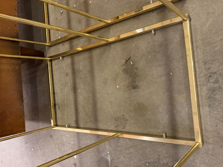 Pair of Vintage Golden Chrome Tiered Side Tables For Sale 4