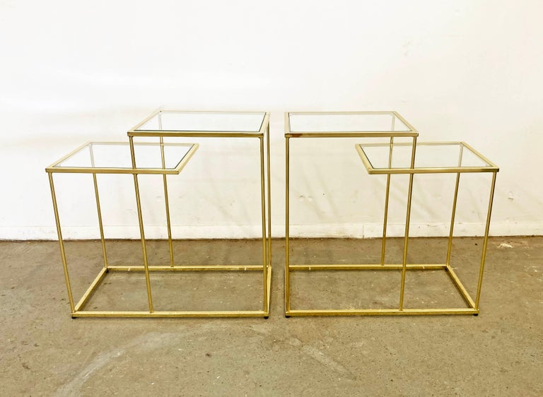 Mid-Century Modern Pair of Vintage Golden Chrome Tiered Side Tables For Sale
