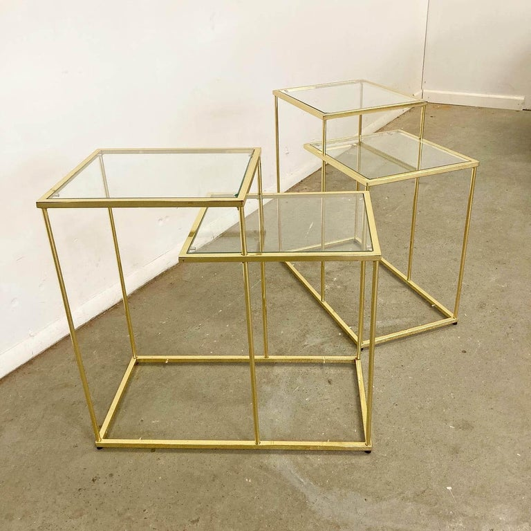 American Pair of Vintage Golden Chrome Tiered Side Tables For Sale