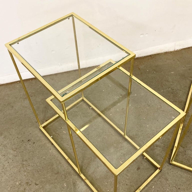 Pair of Vintage Golden Chrome Tiered Side Tables In Good Condition For Sale In Wilmington, DE
