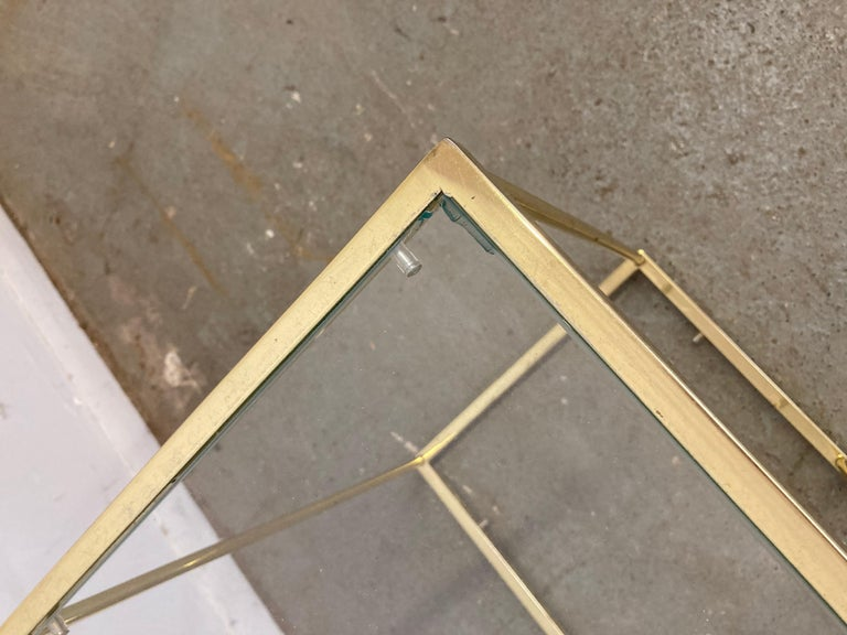 Glass Pair of Vintage Golden Chrome Tiered Side Tables For Sale