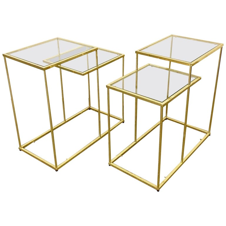 Pair of Vintage Golden Chrome Tiered Side Tables For Sale
