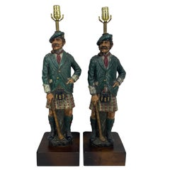 Pair of Vintage Golfers Table Lamps in Full Regalia Golf Dunning, circa 1970s