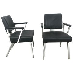 Pair of Vintage Good Form Brushed Aluminum Armchairs, Lounge Chairs