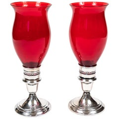 Pair of Vintage Gorham Silver Plate Candlesticks with Ruby Red Glass Hurricanes