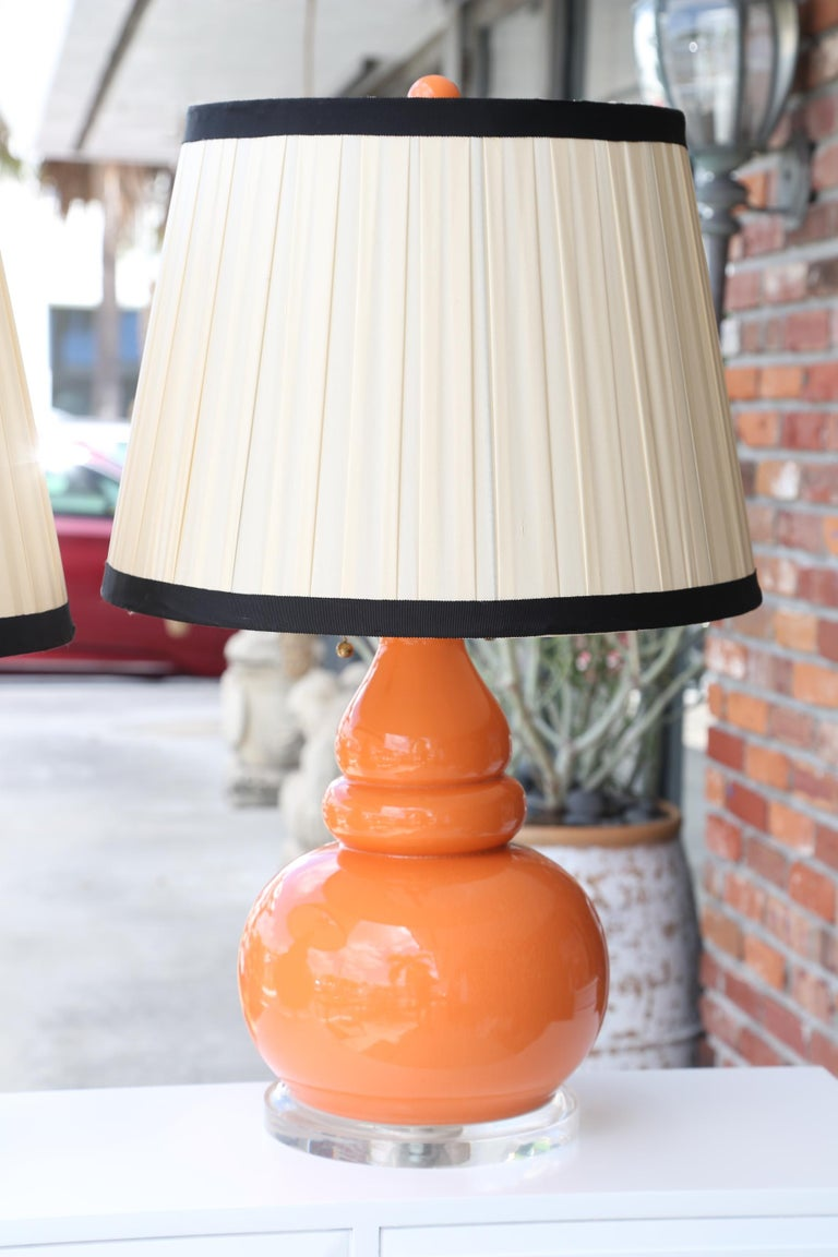 Pair of vintage double gourd lamps on Lucite bases with custom shades.