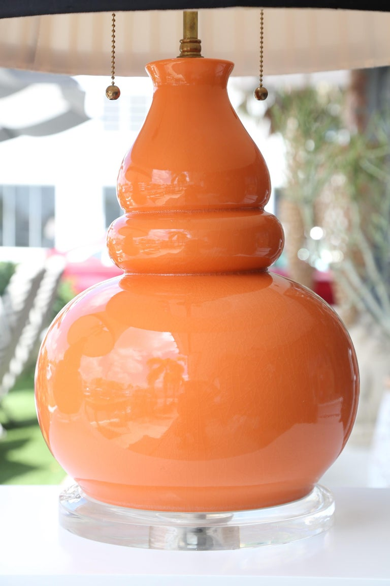 Pair of Vintage Gourd Lamps In Good Condition For Sale In West Palm Beach, FL