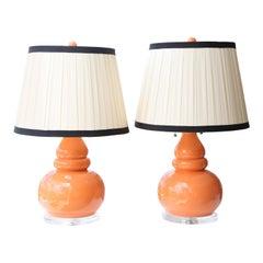 Pair of Vintage Gourd Lamps