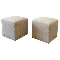 Pair of Vintage Grain Sack Upholstered Nubby Linen Cube Ottomans
