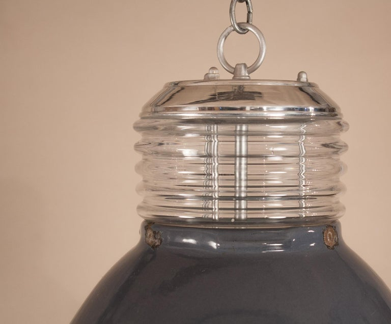 Pair of Vintage Gray Enamel and Glass Industrial Pendant Lights For Sale 7