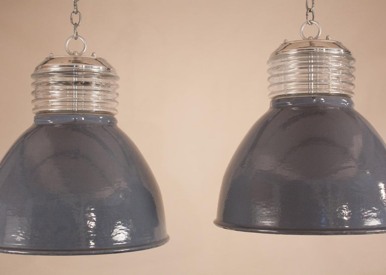 Pair of Vintage Gray Enamel and Glass Industrial Pendant Lights In Good Condition For Sale In Heath, MA