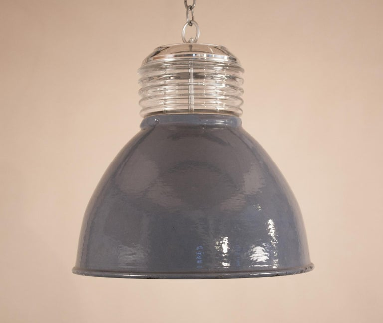 Pair of Vintage Gray Enamel and Glass Industrial Pendant Lights For Sale 1
